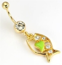 "Painful Pleasures MN1218 14g 7/16"" Single Gem Navel GOLD TONE with Crystal Gem and Dangle Fish"