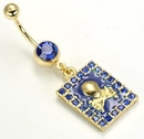 Painful Pleasures MN1224 14g 7/16'' Gold Tone Dark Blue Jewel Belly Button Ring with Framed Skull n' Bones Charm