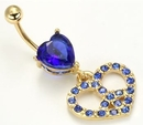 Painful Pleasures MN1225 14g 7/16'' Dark Blue Prong Set Heart Charm Belly Button Ring with Heart Dangle Charm