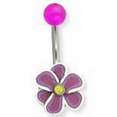 Painful Pleasures MN1272 14g 7/16'' Dark Purple Fimo Flower Belly Button Ring
