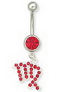 Painful Pleasures MN1275 14g 7/16'' Single Jewel Belly Button Ring with Virgo Charm