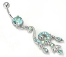 Painful Pleasures MN1306 14g 5/16'' Posh Dangle Charm Prong-Set Jewel Belly Button Ring