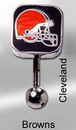 MN1318- NFL_Browns_N 14g 7/16'' NFL Reverse Top Down Belly Button Ring - Cleveland Browns