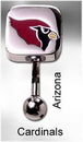 MN1318- NFL_Cardinals_N 14g 7/16'' NFL Reverse Top Down Belly Button Ring - Arizona Cardinals