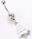 """Painful Pleasures MN1347 14g 7/16"""" Crystal Snow White Christmas Belly Button Ring"""