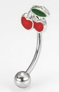 """Painful Pleasures MN1368 16g 7/16"""" Bent Barbell with CHERRIES for Eyebrows, Rook, Tragus Jewelry etc..."""