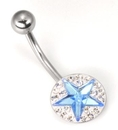 """Painful Pleasures MN1392 14g 7/16"""" CRYSTAL Encrusted STAR Belly Button Body Piercing Jewelry"""