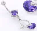 """Painful Pleasures MN1421 14g 7/16"""" Prong Set Gem with Jewel Encrusted Heart Body Jewelry"""