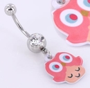 """Painful Pleasures MN1432 14g 7/16"""" Cute PINK Owl Charm Belly Button Ring"""