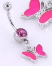 "Painful Pleasures MN1440 14g 7/16"" Gem with CUTE BUTTERFLY Dangle Belly Ring"