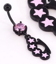 """Painful Pleasures MN1535 Black Knuckles n Stars 14g 7/16"""" Belly Button Body Jewelry"""