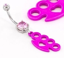 "Painful Pleasures MN1536 PINK KNUCKLE Charm on a 14g 7/16"" Belly Button Body Jewelry"