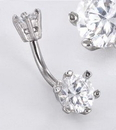 """Painful Pleasures MN1537 Double GEM PRONG SET 14g 7/16"""" Belly Button Body Jewelry"""