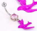 """Painful Pleasures MN1538 PINK SPARROW Charm on a 14g 7/16"""" Belly Button Body Jewelry"""