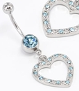 "Painful Pleasures MN1549 14g 7/16"" Gem Heart Navel THE MOST BEAUTIFUL IN THE WORLD Belly Ring"