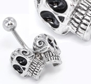Painful Pleasures MN1550 14g 7/16'' Day of the Dead Skulls Belly Button Ring