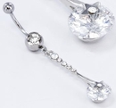 """Painful Pleasures MN1552 14g 7/16"""" Crystal Gem Navel with STARS ARE BLIND Belly Ring"""
