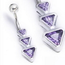 """Painful Pleasures MN1563 14g 3/8"""" Sterling Silver TRIANGLES Belly Piercing Jewelry"""