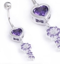"""Painful Pleasures MN1566 14g 3/8"""" HEART and KEY Belly Piercing Jewelry"""