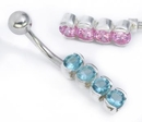 """Painful Pleasures MN1568 14g 3/8"""" Sterling Silver 4 Round Gems Belly Jewelry"""