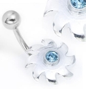"""Painful Pleasures MN1572 14g 3/8"""" Sterling Silver WHIPER Belly Ring"""