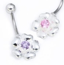 """Painful Pleasures MN1579 14g 3/8"""" Sterling Silver FLOWER Navel Piercing Jewelry"""