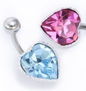"Painful Pleasures MN1580 14g 3/8""  BIG GEM HEART Piercing Navel Jewelry"