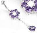 "Painful Pleasures MN1591 14g 3/8"" FLOWER with Charm Belly Jewelry"