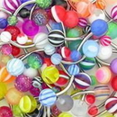 "Painful Pleasures MN1612-deal10 14g 7/16"" Mixed Acrylic Belly Button Rings - Price Per 10"