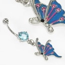 """Painful Pleasures MN1617 14g 7/16"""" Aqua Prong Set Stone with Butterfly Dangle Belly Jewelry"""