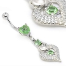 "Painful Pleasures MN1666 14g 7/16"" Heart Peridot Belly Piercing Jewelry"