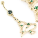 """Painful Pleasures MN1673 14g 7/16"""" Single Gem GOLD TONE Navel EMERALD with Christmas Tree Charm"""
