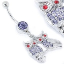 """Painful Pleasures MN1676 14g 7/16"""" SINGLE GEM LAVENDER Navel with OWLS on BRANCH Dangle Jewelry"""