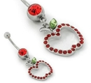 """Painful Pleasures MN1682 THE BIG APPLE Light Siam Belly Button Jewelry in 14g 7/16"""""""