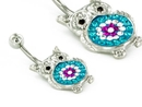 """Painful Pleasures MN1704 14g 7/16"""" BeDazzled Gem Owl Belly Piercing Jewelry"""