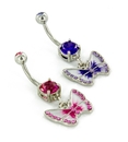 "Painful Pleasures MN1709 Prong Set Double Gem 14g 7/16"" with Pastel Butterfly Belly Piercing Jewelry"