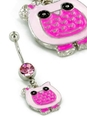 """Painful Pleasures MN1743 14g 3/8"""" Cute Pink Cartoon Owl Belly Button Ring"""