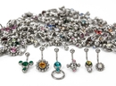 Painful Pleasures MN1770 14g Galaxy Mix - Bag of 100 Jeweled Belly Button Rings