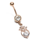 Painful Pleasures MN1774 14g 7/16'' Jeweled Guiding Star Rose Gold Belly Button Ring