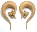 Painful Pleasures ORG062 LEAF Cascade Natural Wood Earrings Organic Body Jewelry - Price Per 1
