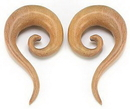 Painful Pleasures ORG065 Red Saba Wood Spiral Hanger Earring - Price Per 1