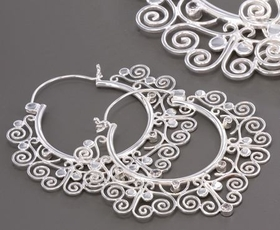 18G Silver Indonesia Gaj Style Earrings - Price Per 2