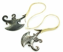 Elementals ORG1103-pair BLACK Mother of Pearl  AX Aalap Gold Plated Earrings -  Price Per 2