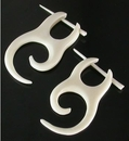 Elementals Organics ORG135-pair 1/2 Spiral Bone Pick Earrings - Stirrups Natural Body Jewelry - Price Per 2