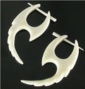 Elementals Organics ORG141-pair ALLIGATOR TAIL Design in Bone Pick Earrings - Stirrups Natural Body Jewelry - Price Per 2