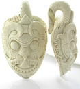 Elementals Organics ORG1500-pair Walrus Bone Tribal Mask Ear Weights Natural Body Jewelry - Price Per 2