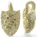Elementals Organics ORG1502-pair Walrus Bone Indonesia Dragon Ear Weights Natural Body Jewelry - Price Per 2