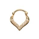 Elementals Organics ORG1648 16g Gold Plated Jeweled Tear Drop Septum Clicker