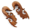 Painful Pleasures ORG201 BLOOD WOOD Leafy Earrings Organic Body Jewelry 4mm - 30mm - Price Per 1