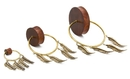 Elementals Organics ORG2120 Double Flare Tiger Wood Plug with Polished Bronze Feather Charms - Price Per 1